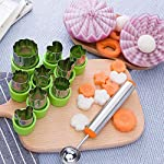 TIMGOU 12 Pcs Vegetable Fruit Cutter Shapes Set with Melon Baller Scoop and Cleaning Brush, Fruit and Mini Cookie Stamps Mold for Kids Crafts Baking Decorating Food-Green 15 12 Different Shape: There are 12 pcs different shape cutters in the package, contains shape of fish, rabbit, flower, duckling, star, strawberry, mushroom and so on. Come with melon baller and cleaning brush: The stainless steel fruit scoop helps to make ball shape fruit to decorate your made dish, small brush to clean the mold in hard reaching corner. Simple and extensive use: Just press the twist gently, you can get a pattern you want. Widely used for sugar cake, DIY biscuits, chocolate, mini pie, cookies, make fruit and vegetables into multiple shapes for Salad or fruit tray, suit for kids having fun in DIY.