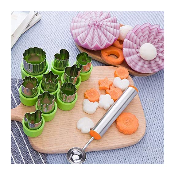 TIMGOU 12 Pcs Vegetable Fruit Cutter Shapes Set with Melon Baller Scoop and Cleaning Brush, Fruit and Mini Cookie Stamps Mold for Kids Crafts Baking Decorating Food-Green 6 12 Different Shape: There are 12 pcs different shape cutters in the package, contains shape of fish, rabbit, flower, duckling, star, strawberry, mushroom and so on. Come with melon baller and cleaning brush: The stainless steel fruit scoop helps to make ball shape fruit to decorate your made dish, small brush to clean the mold in hard reaching corner. Simple and extensive use: Just press the twist gently, you can get a pattern you want. Widely used for sugar cake, DIY biscuits, chocolate, mini pie, cookies, make fruit and vegetables into multiple shapes for Salad or fruit tray, suit for kids having fun in DIY.