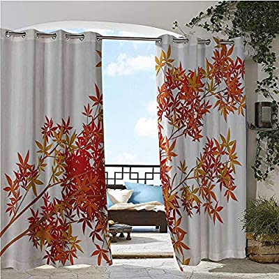 Patio Curtains, Autumn Tree Branches Shaded Faded Tones Fall Season Botany Leaves Print, Outdoor Curtain for Patio,Outdoor Patio Curtains Orange Scarlet Ginger