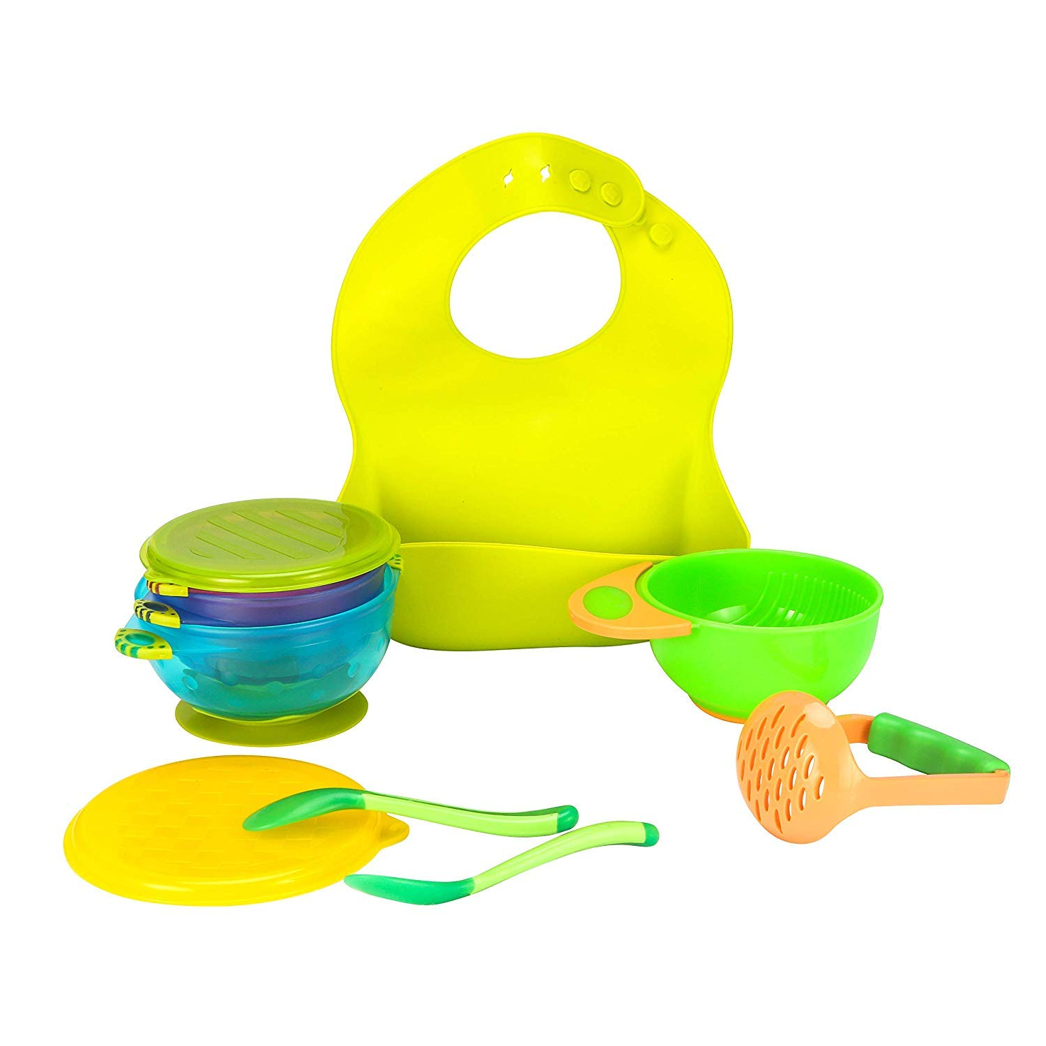 Baby Feeding Set 8 PCS Silicone Bib Mash Bowl Heat Sensitive Spoons Suction Bowl Gifts for New Born Green
