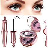 Reusable Magnetic Eyelash, 2020 Upgraded 3D Waterpoof Magnetic Eyeliner and Multi Styles Lashes with Tweezers - No Glue Needed (2 pairs)