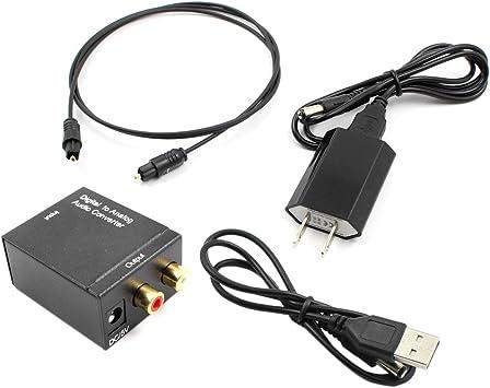 Adaptador convertidor de Audio Toslink óptico y coaxial R/L Coaxial óptico Digital a convertidor de Audio RCA analógico con Cable de Fibra Negro Enchufe de EE. UU.: Amazon.es: Electrónica
