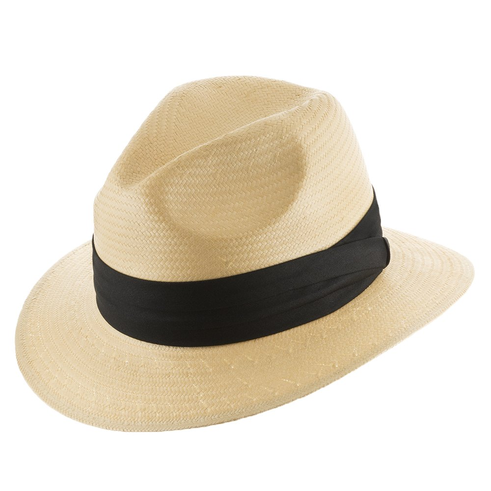 Ultrafino Monte Cristo Fedora Straw Panama Hat Natural With Black hatband 7 1/8