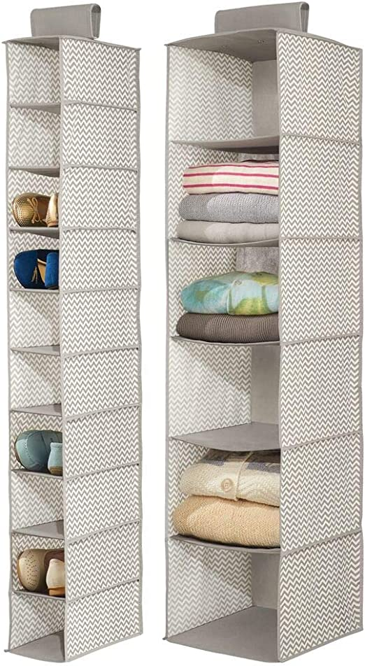 Handbags Taupe//Natural 16 Compartments Boots for Shoes Clutches mDesign Chevron Fabric Hanging Closet Storage Organizer