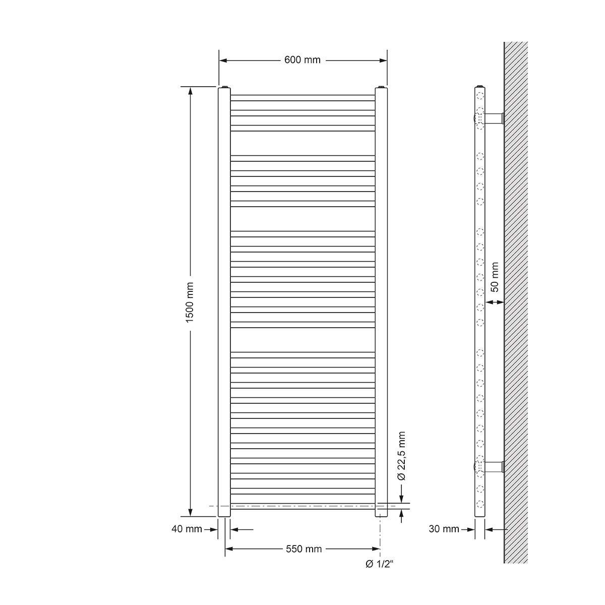 Radiador Calentador de toallas Secador de toallas 300W 500 x 800 mm ECD Germany Radiador el/éctrico de toallas curvado con conexi/ón lateral Blanco