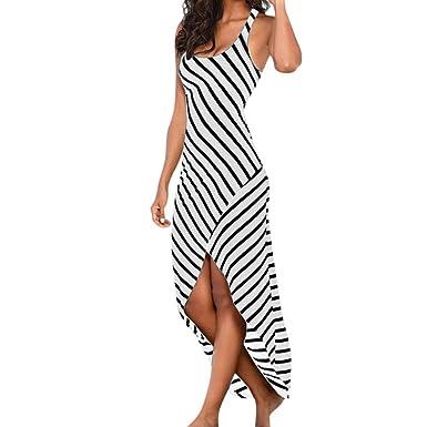 YOUBan Damen Frauenkleid Lässige Sommerkleid Loses Kleid Langes Strandkleid  Ärmellose Streifen V-Ausschnitt Kleid Minikleid 920e104683