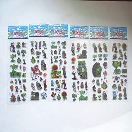 Etiqueta Engomada 60 Hojas Niños Dibujos Animados Plantas Zombis ...