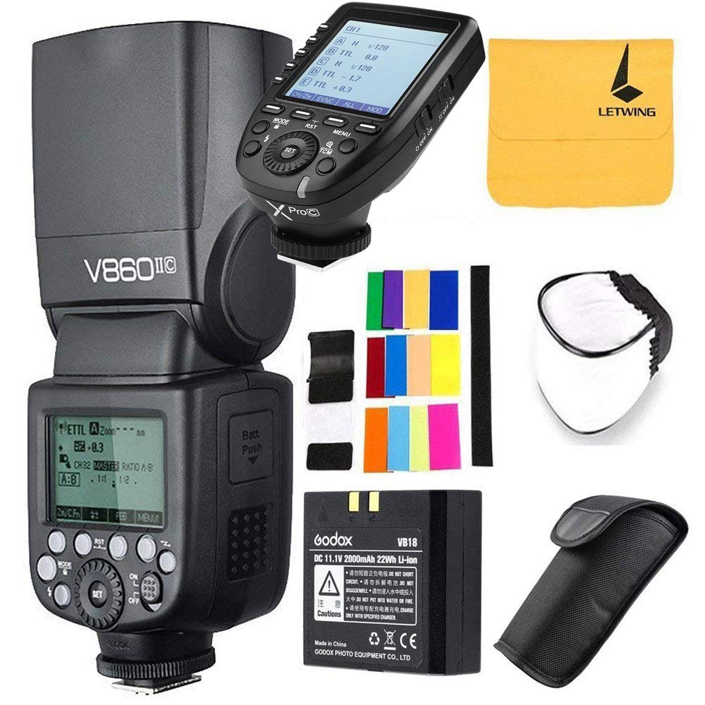 Godox V860II-C Pioneering 2.4G Wireless E-TTL II Li-on Camera Flash Compatible for Canon 6D 50D 60D 1DX 580EX II 5D Mark II III,Godox XPro-C Wireless High Speed Sync 1/8000s X System Flash Trigger by Godox