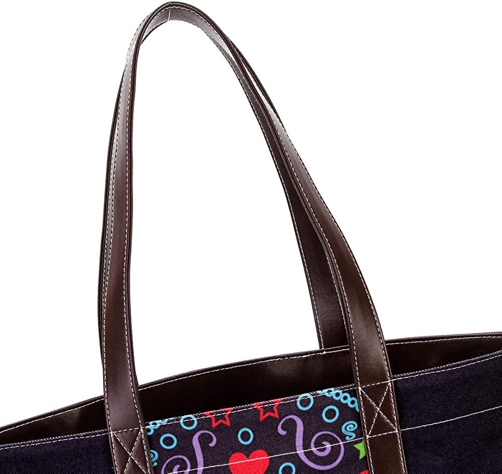 Siebzeh Skull Women Fashion Handbags Canvas Leather Mix Big Capacity Work Tote Large Leather Top Handle Shoulder Tote Big Purse Best Gift For Women