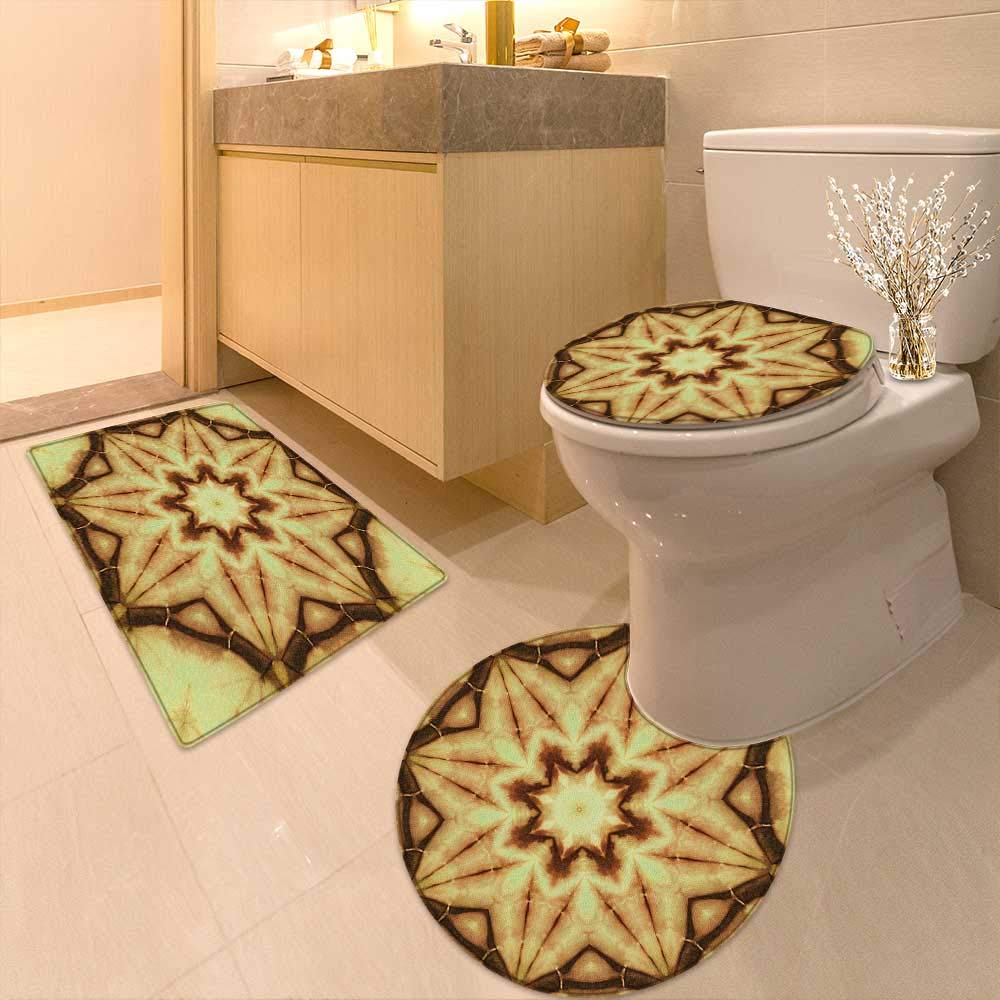 Printsonne 3 Piece Extended Bath mat Set Decor Trippy Ethnic Thai Mandala Motif Dirty Grunge Smear Rough Stains 3 Piece Toilet Cover Set