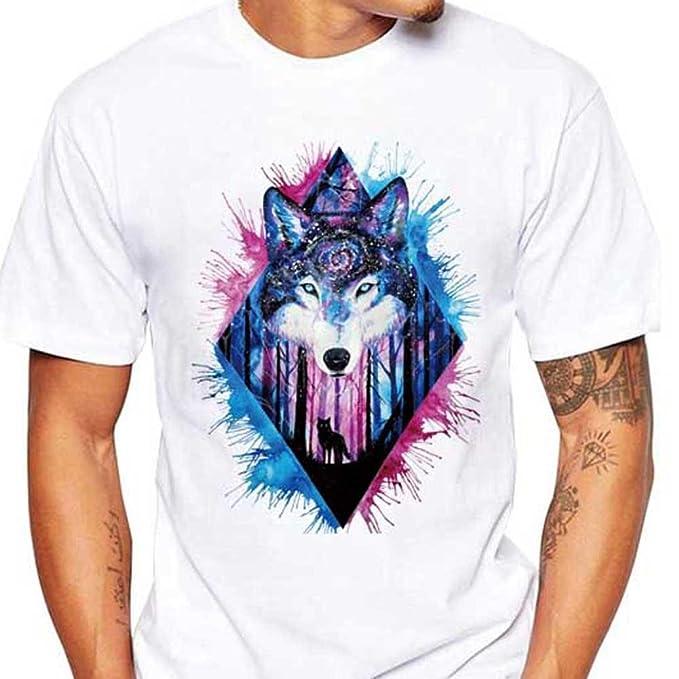 Camisetas Blancas Hombre Manga Corto LHWY, Camisetas Talla Grande De Cuello Redondo con Estampado De