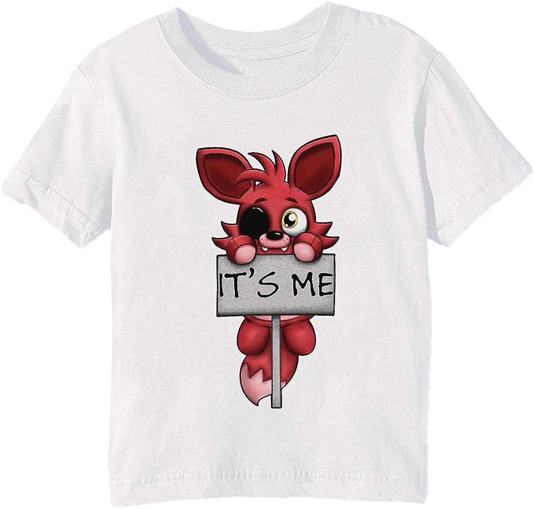 FNAF Plush Foxy Niños Unisexo Niño Niña Camiseta Cuello Redondo Blanco Manga Corta Tamaño 3XS Kids Boys Girls White XXX-Small Size 3XS: Amazon.es: Ropa y accesorios