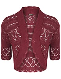 WearAll Womens Crochet Knitted Short Sleeve Bolero Cardigan Top Shrug