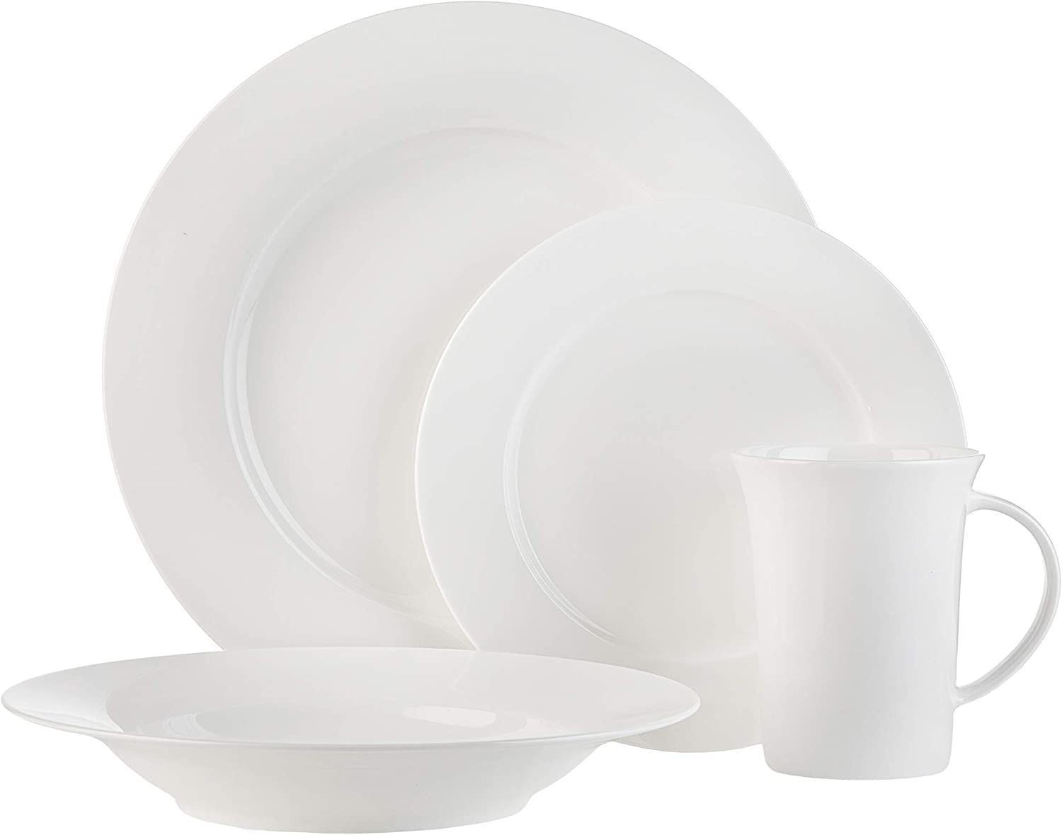 White Bone China 16-Piece Dinnerware Set Herrick by Godinger Service for 5