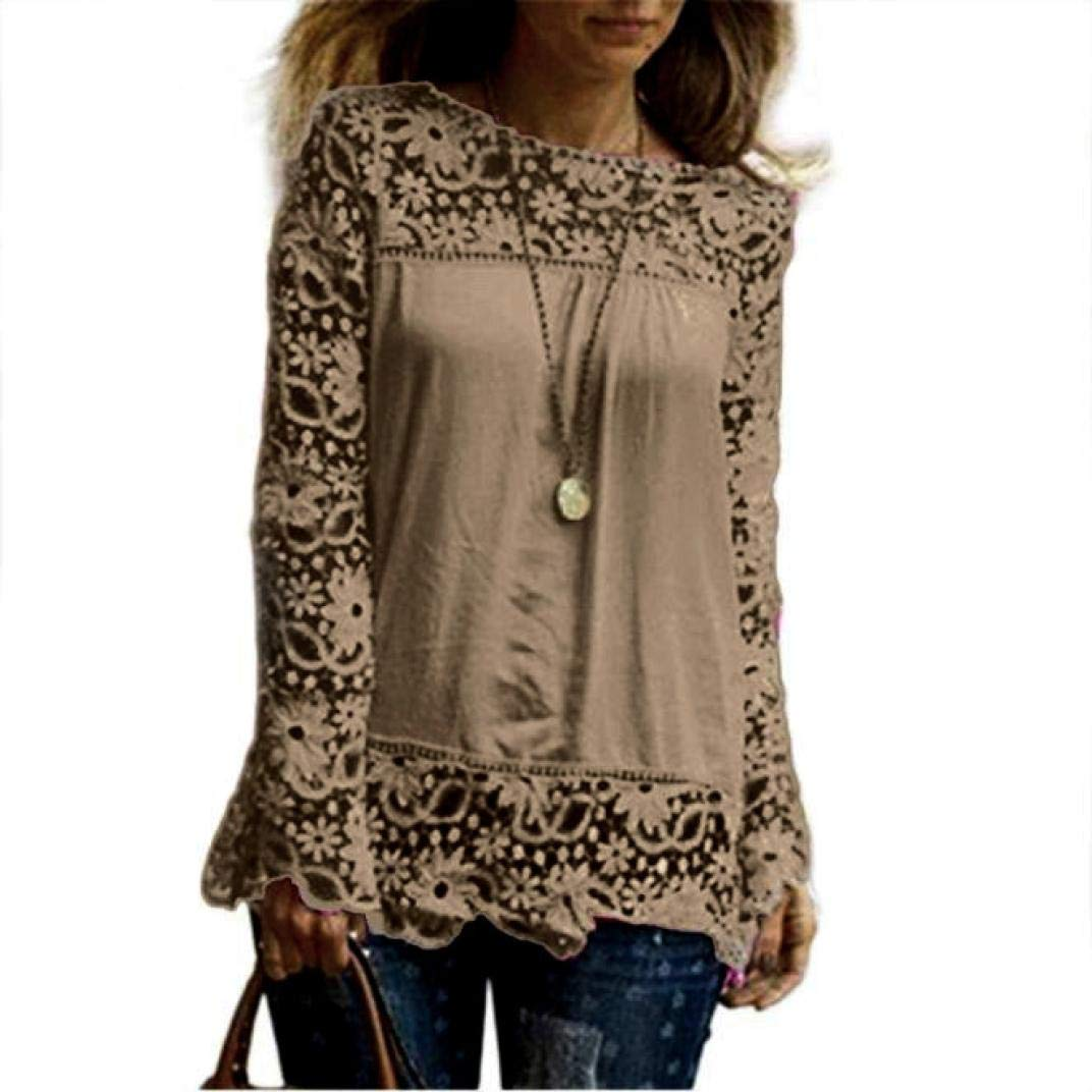 Women Plus Size Hollow Out Lace Splice Long Sleeve Shirt Casual Blouse Loose Top(Khaki,Medium)