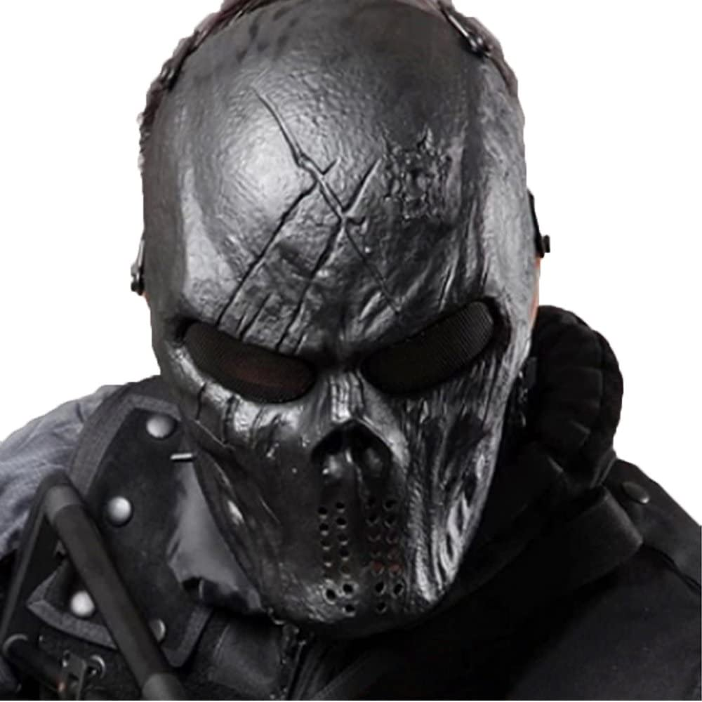 Tactical Mask Skull Full Face with Metal Mesh Eye Protection-Airsoft/BB Gun/CS Game-Zombie Masks Heads Scary for Cosplay Party Halloween Tricky Man&Women : Clothing