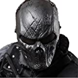 Skull Airsoft Masks Full Face - Tactical Mask Metal Mesh Eye Protection for BB Gun/CS Game/Paintball/Hunting - Outdoor Ghost Mask Army Men&Women Zombie Scary Skeleton Masks for Costume