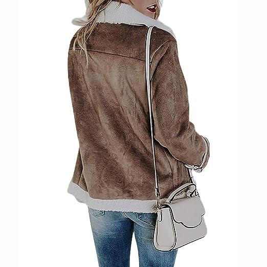 Yvelands Outwear para Mujer Invierno Faux Suede Warm Jacket Zipper Up Front Coat Outwear con Bolsillos: Amazon.es: Ropa y accesorios