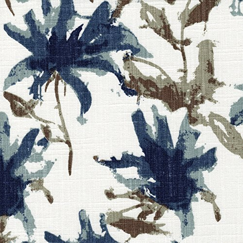 Regal Floral Valance - Kendal Regal Blue Watercolor Floral Bradford Valance Cotton Kendal Back Layer