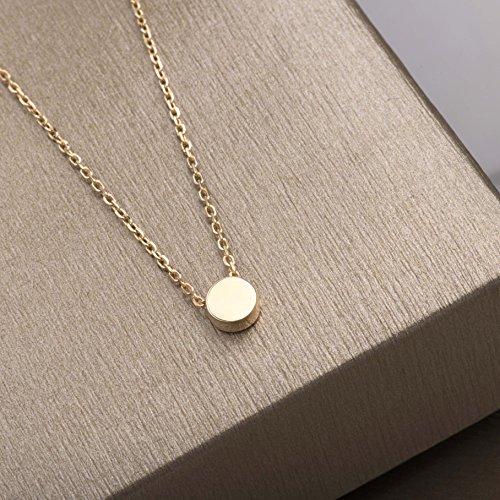 S.Leaf Gold Tiny Dot Necklace Sterling Silver Ball Pendant Circle Necklace (gold) by S.Leaf (Image #5)