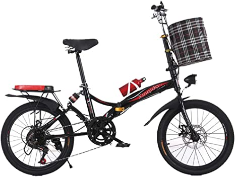 AOHMG Bicicleta Plegable Adulto Peso Ligero, 6- velocidades ...