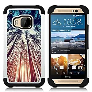 GIFT CHOICE / Defensor Cubierta de protección completa Flexible TPU Silicona + Duro PC Estuche protector Cáscara Funda Caso / Combo Case for HTC ONE M9 // Forest Nature Summer Sky Ray //