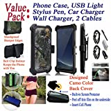 Value Pack + for 5.5'' Motorola moto Z2 Play Z2 FORCE Case Clip Holster Phone Case 360° Cover Screen Protector Kickstand Grip Sides Shock Bumper (Camo Woods)