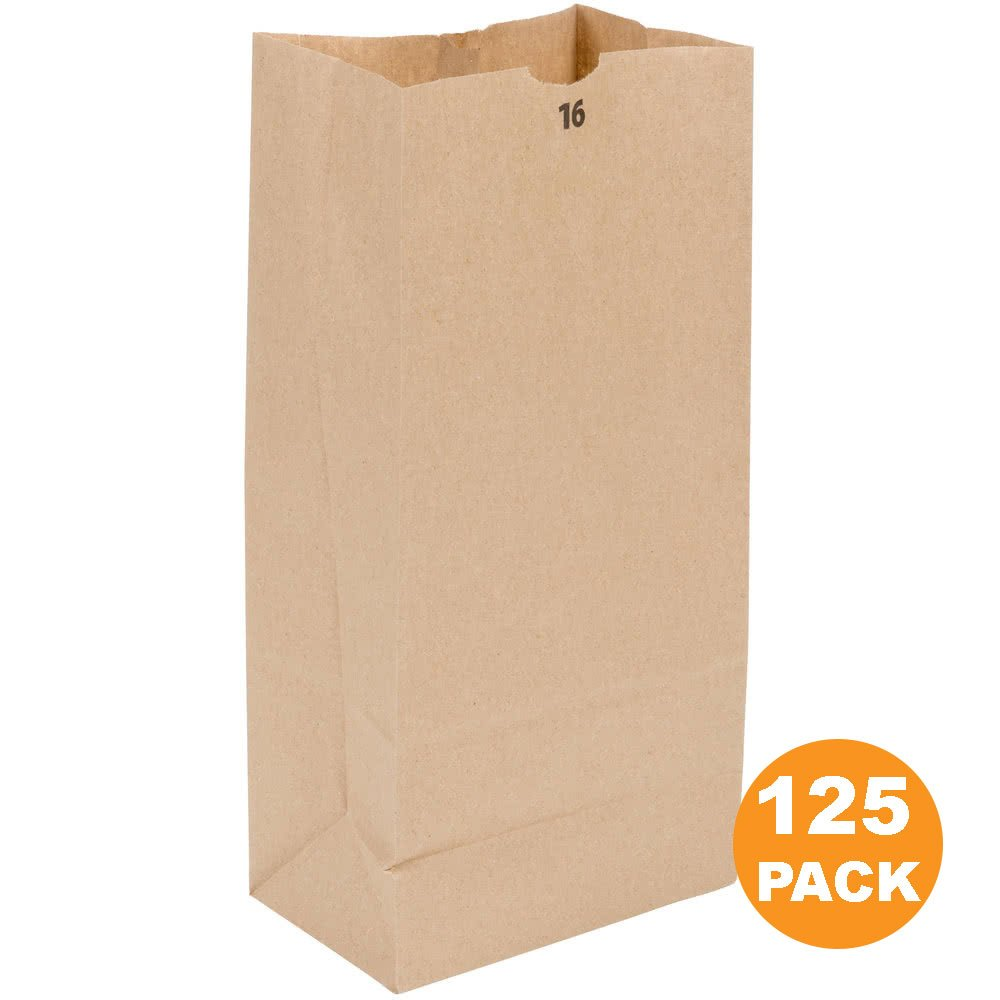 Heavy Duty Kraft Paper Bags 16 x 8 x 5.5'' 20 LB Grocery Lunch Retail Shopping Durable Natural Brown Barrel Sack [125 Pack]
