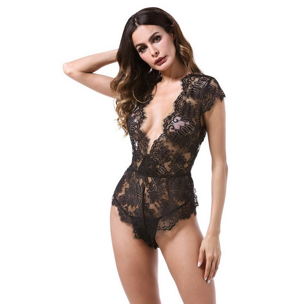 Premewish Women Sexy Lingerie Black Deep V Lace Sexy Lingerie Teddy Plunging Eyelash And Snaps Crotch(M)