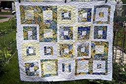 Abstract Blue and Yellow Floral Quilted Wall Hanging