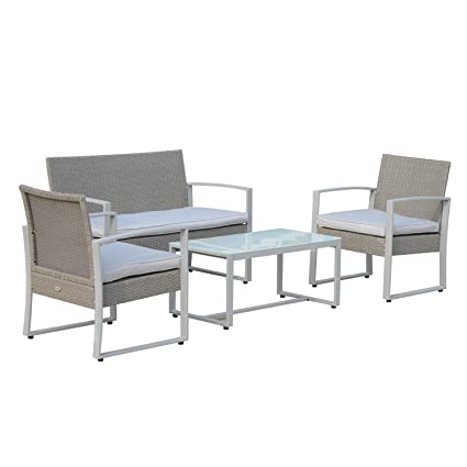 Amazon.com : NEW Grey, Outdoor 4PC Wicker Sofa Set Cushioned ...