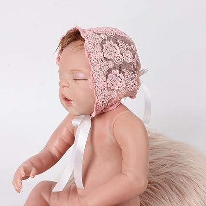 OULII Bebé recién nacido niña encaje cinta de seda ajustable tapa sombrero foto atrezzo favores (rosa)