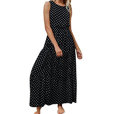 Longra Women Ladies Dot Printing Round Neck Sleeveless Evening Party Long Dress Summer Party Dresses Affordable