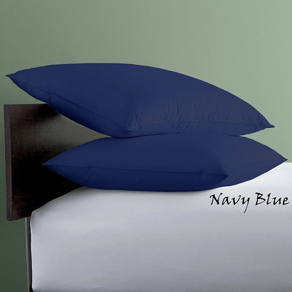 Bed-Bucket 400TC 100% Natural Cotton Soft & Silky Pure Long-staple Cotton Blue Solid Toddler Travel 12x16 inch Size Pillow Cover Set of 2pcs (Navy Blue Pillow Case- 12''x16'' Inch)