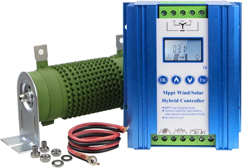 ZBF Controlador de Carga híbrida Solar de batería MPPT LI 1400W 12V 24V con Carga de volteos Compatible con batería de Litio de Plomo-ácido (Color : Blue, Current : 600W Wind 500W Solar)