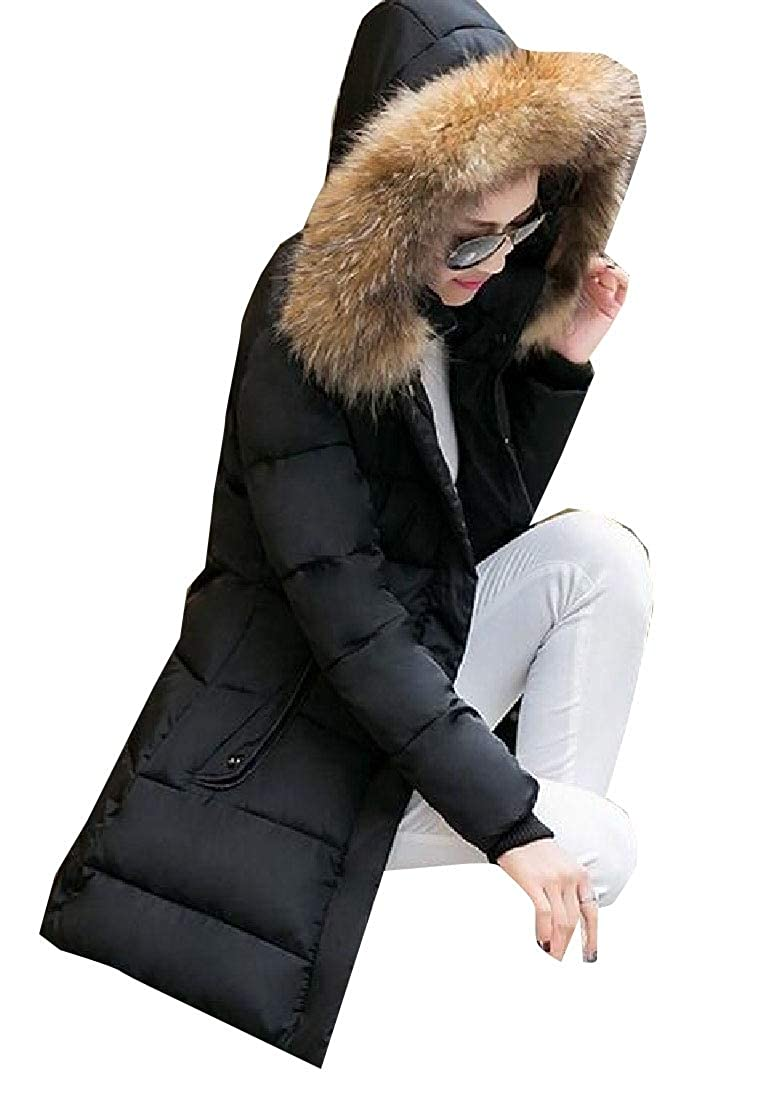 Black omniscient Women's Solid color Padded Warm Packa Fur Hoode Outwear Coat LongSleeve