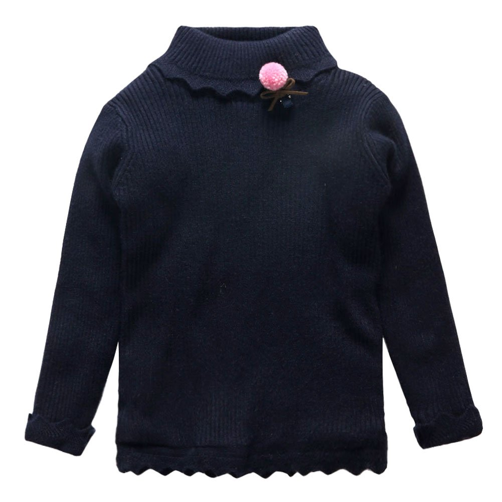 Coodebear Little Baby Girls' Turtle Neck Velvet Lined Undershirts Sweater