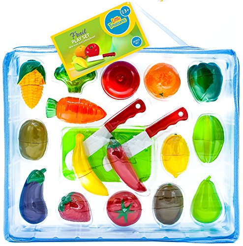 Little Treasures Fruit and Vegetables Play Kitchen Food for Pretend Cutting Food Toys - Educational Playset with Toy Knife, Cutting board (36 Total Pieces)