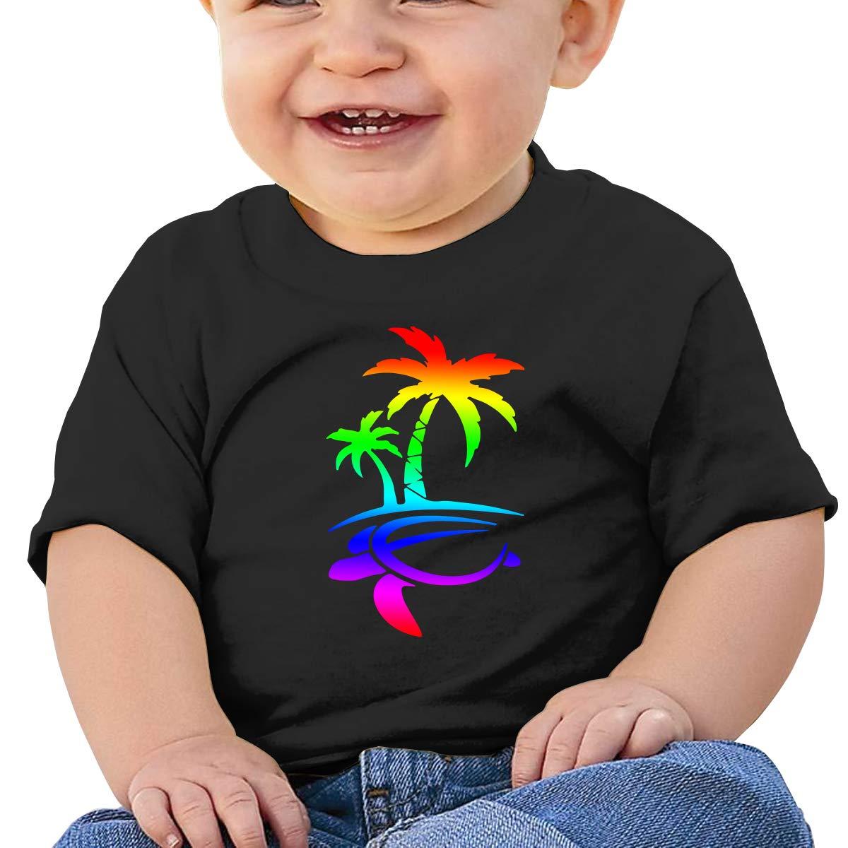 Hawaiian Palm Tree and Sea Turtle Baby Girl Newborn Short Sleeve T-Shirt 6-24 Month Soft Tops