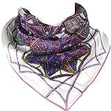 Mandala Carnival - Elegant Luxurious 100% Silk Scarf - White & Pink - 22 x 22 Inch