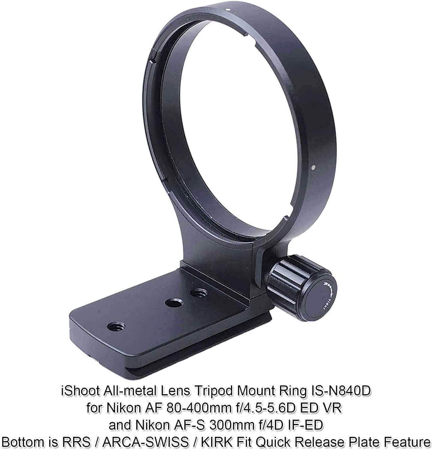 iShoot Lens Collar Tripod Mount Ring for Nikon AF 80-400mm f//4.5-5.6D ED VR and Nikon AF-S 300mm f//4D IF-ED Lenses-Camera Lens Tripod Support Bracket with Quick Release Plate fit ARCA-Swiss Ball Head