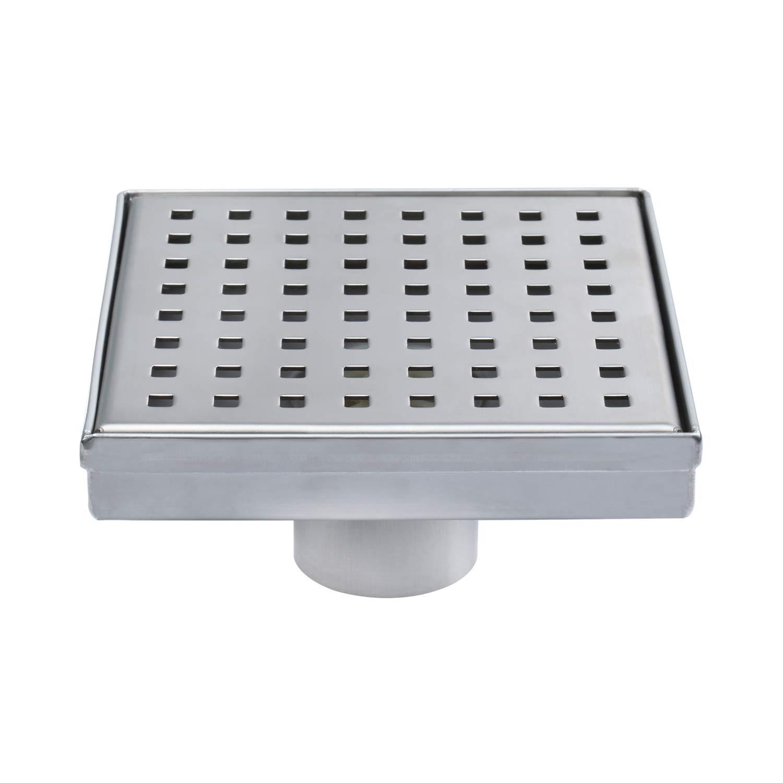 Fryotuc Rustproof Shower Drain 6 Inch Bathroom Floor Drain Brushed Shower Drain Cover with Quadrate Pattern by Fryotuc (Image #1)