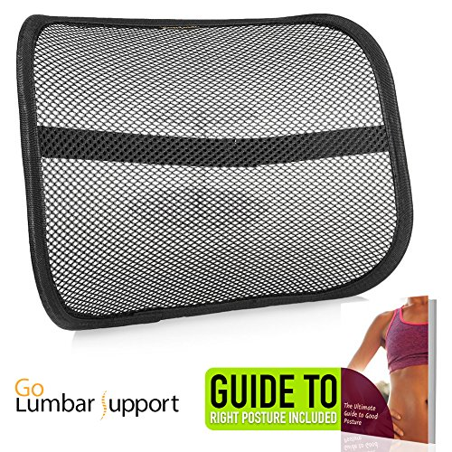 Lumbar Lower Back Support for Car Seat and Office Ergonomic Desk Chair [UPGRADE VERSION WITH STRAP] - Recommended by Chiropractor Dr. Jose Guevara for Orthopedic Lower Back Pain Relief Correct Posture by Go Lumbar Support