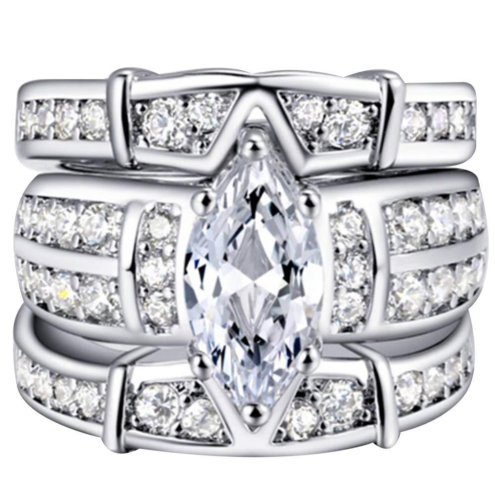Slendima 3Pcs Fashion Three Layer Cubic Zirconia Rings Set Women Wedding Engagement Jewelry Gift Silver US 7
