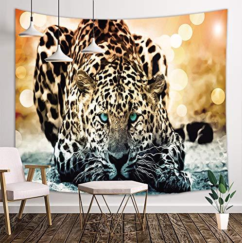 KOTOM Tiger Leopard Tapestry, Wildlife Nature Safari Jungle African Big Cat, Wall Art Hanging Blankets Home Decor for Bedroom Living Room Dorm, 80X60 Inches