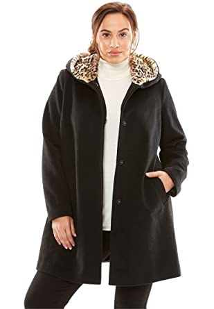 875743c3262 Jessica London Women s Plus Size A-Line Coat with Leopard-Print Hood at  Amazon Women s Clothing store