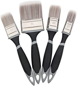 Paint Brushes Set - MAXMAN Trim Paint Brush, Paintbrushes 4 Pack with Treated Rubber Handle for Painting and Cleaning