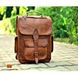 Brown Leather Rucksack Vintage Backpack - Fits 15 Inch Laptops and iPads - Handsome Patina Deepens as Ages - Waterproof, Ideal for Business, Travel, Gym - Suits Men or Women