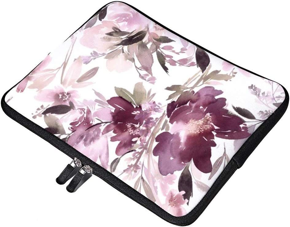 Yilooom Watercolor Purple Pink Flowers Pattern 15 Inch Neoprene Laptop Sleeve Carrying Computer Case for Laptop Ultraportable Dell HP Samsung Ultrabook