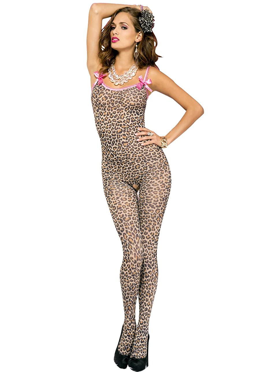 MUSIC LEGS Women's Leopard Print Crotchless Bodystocking with Satin Bow One Size 1112